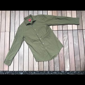 ALFANI Green Slim Fit Stretch Button Down